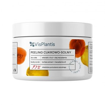 Vis Plantis Herbal Vital Care Peeling cukrowo-solny do ciała Ekstrakt z Liczi + Olej Macadamia 200 ml