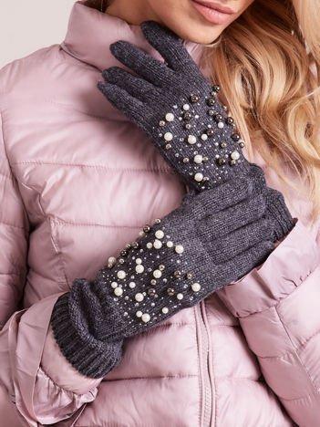 WEŁNIANE Szare Rękawiczki z Perłami
