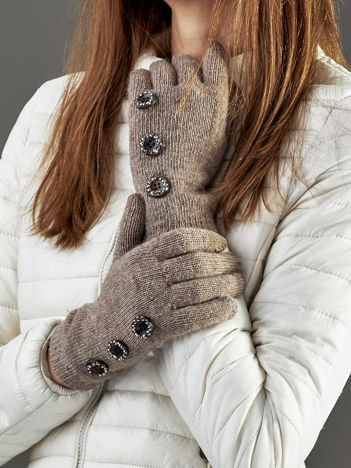 Wełniane rękawiczki damskie dotykowe ciemnobeżowe