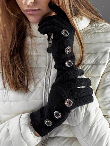 Wełniane rękawiczki damskie dotykowe czarne