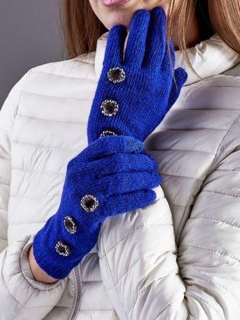 Wełniane rękawiczki damskie dotykowe kobaltowe