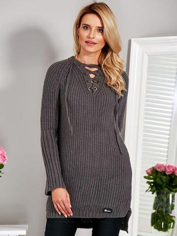 Wełniany sweter lace up V-neck ciemnoszary