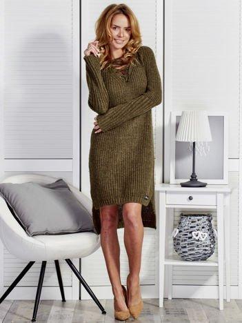 Wełniany sweter lace up V-neck khaki