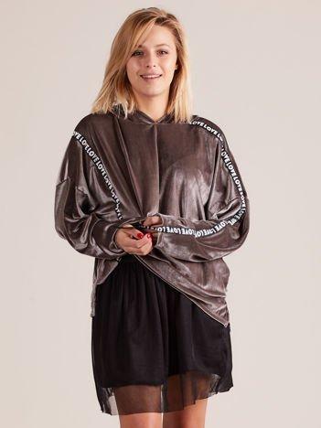 Welurowa bluza oversize z kapturem szara