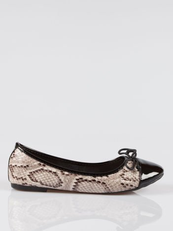 Wężowe baleriny animal pattern z czarnym lakierowanym czubkiem beżowe
