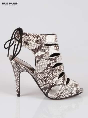 Wężowe wiązane botki faux suede Gina lace up cut out z odkrytą piętą