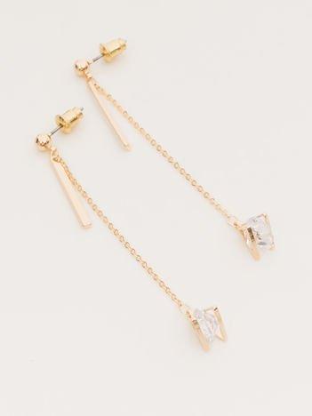 Wiszące złote długie kolczyki z kamieniem w oprawie na złotym łańcuszku Zapięcie na sztyft Pokryte 18-to karatowym złotem