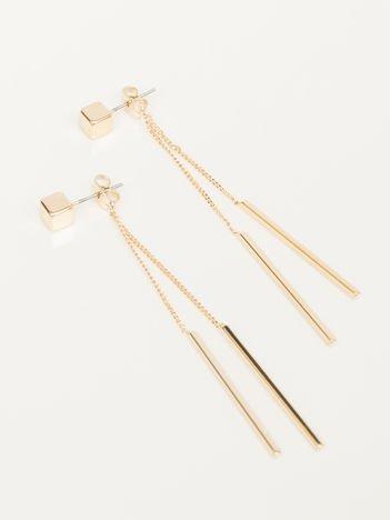 Wiszące złote długie kolczyki z sześcianem i pałeczkami na złotym łańcuszku Zapięcie na sztyft Pokryte 18-to karatowym złotem