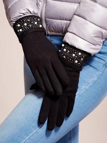 Wyjątkowo Ciepłe Czarne Rękawiczki Damskie z Ozdobnym Mankietem