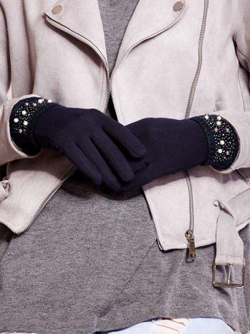 Wyjątkowo Ciepłe Granatowe Rękawiczki Damskie z Ozdobnym Mankietem