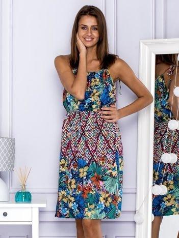 Wzorzysta sukienka letnia na ramiączka wielokolorowa