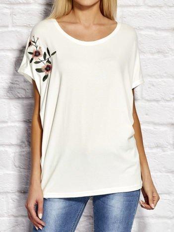 YUPS Biała bluzka z kwiatowym haftem