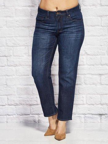 YUPS Ciemnoniebieskie spodnie jeansowe o kroju regular