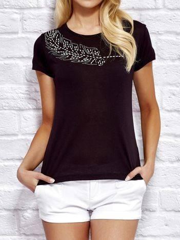 YUPS Czarny t-shirt z aplikacją