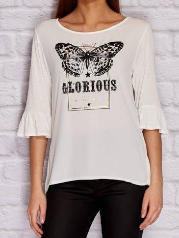 YUPS Ecru bluzka z motylem