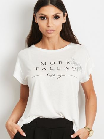 YUPS Ecru t-shirt z napisem MORE TALENT LESS EGO