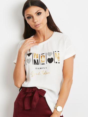 YUPS Ecru t-shirt z tekstowym nadrukiem