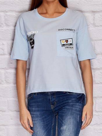 YUPS Niebieska bluzka z naszywkami