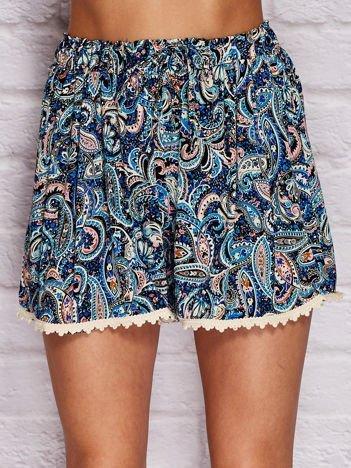 YUPS Niebieskie szorty ze wzorem paisley