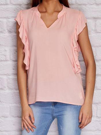 YUPS Różowa koszula z falbanami