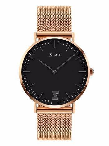 ZEMGE Zegarek damski czarno-złoty na bransolecie typu MESH Eleganckie pudełko prezentowe w komplecie