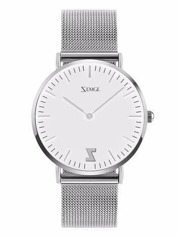 ZEMGE Zegarek unisex srebrny na bransolecie typu MESH Eleganckie pudełko prezentowe w komplecie