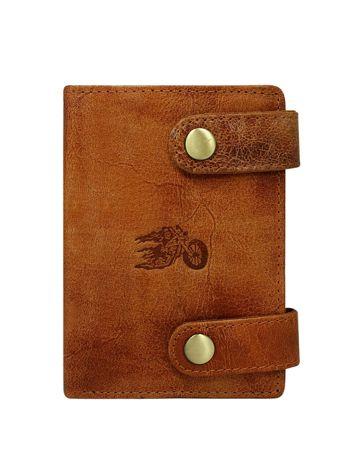Zapinany portfel męski ze skóry
