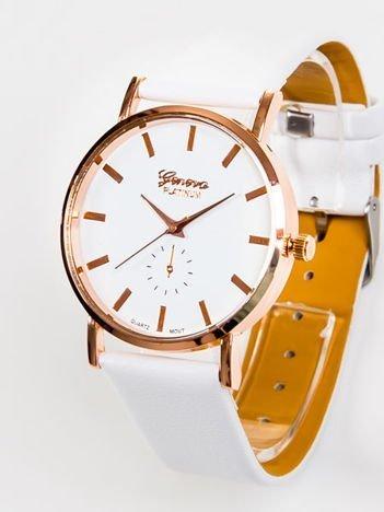 Zegarek damski biały Geneva z cyrkoniami na tarczy