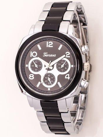 Zegarek damski na bransolecie srebrno-czarny