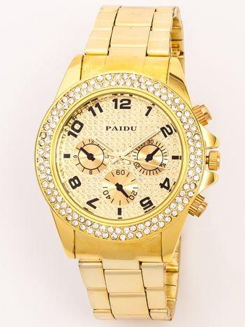 Zegarek damski na bransolecie złoty z cyrkoniami i ozdobnym chronografem
