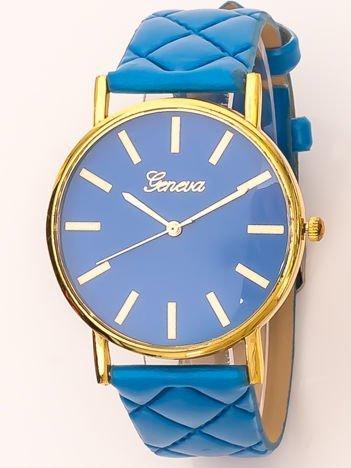Zegarek damski na pikowanym pasku niebieski