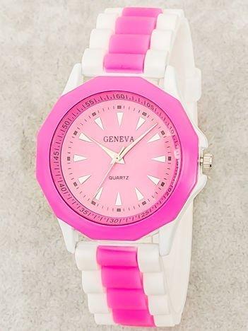 Zegarek damski na wygodnym silikonowym pasku biało-różowy