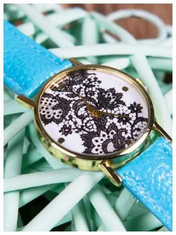Zegarek damski niebieski z koronką na tarczy