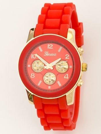 Zegarek damski z ozdobnym chronografem na wygodnym silikonowym pasku czerwony