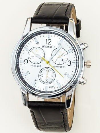 Zegarek damski z ozdobnym chronografem srebrno-czarny