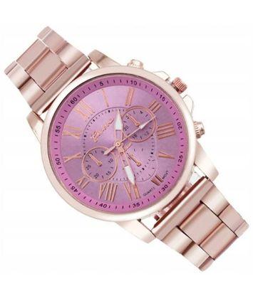 Zegarek damski złoty na bransolecie z różową tarczą