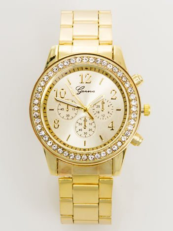 Zegarek damski złoty z cyrkoniami