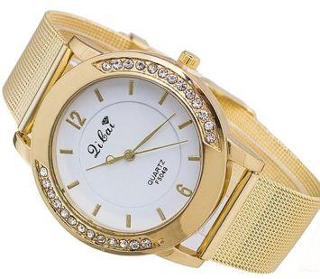 Zegarek damski złoty z cyrkoniami na bransolecie typu mesh