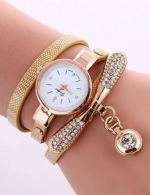 Zegarek damski złoty z ozdobą na pasku
