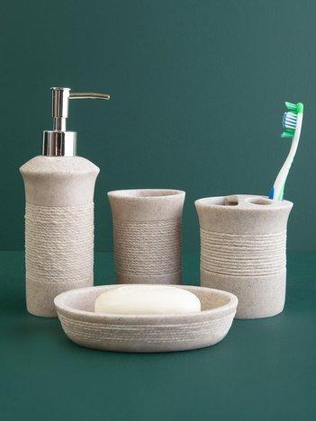 Zestaw akcesoriów łazienkowych beżowy