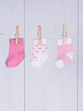 Zestaw skarpetek niemowlęcych dla dziewczynki 3-pak różowy