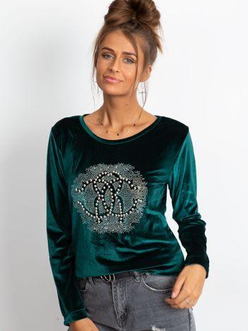 Zielona aksamitna bluza damska z aplikacją