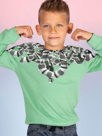 Zielona bluza dla chłopca z nadrukiem