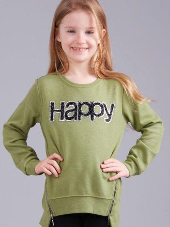 Zielona bluza dziewczęca z aplikacją