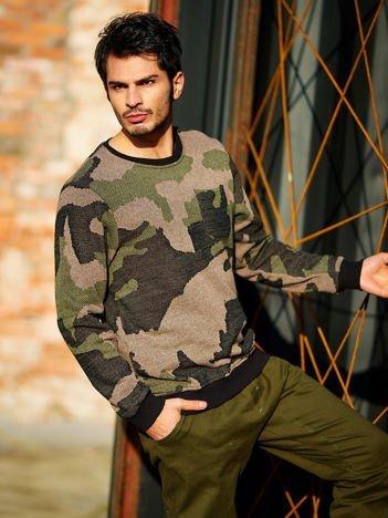 Zielona bluza męska moro z kieszonką