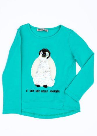 Zielona bluzka dla dziewczynki z pingwinem