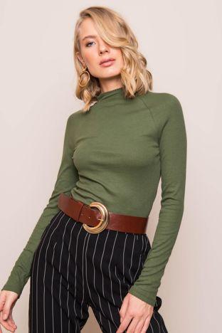 Zielona bluzka z długim rękawem BSL