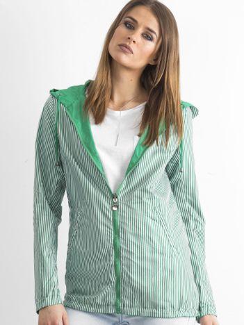 Zielona dwustronna kurtka wiatrówka