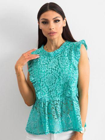 Zielona koronkowa bluzka z baskinką