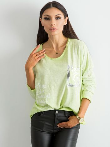 Zielona luźna bluzka damska